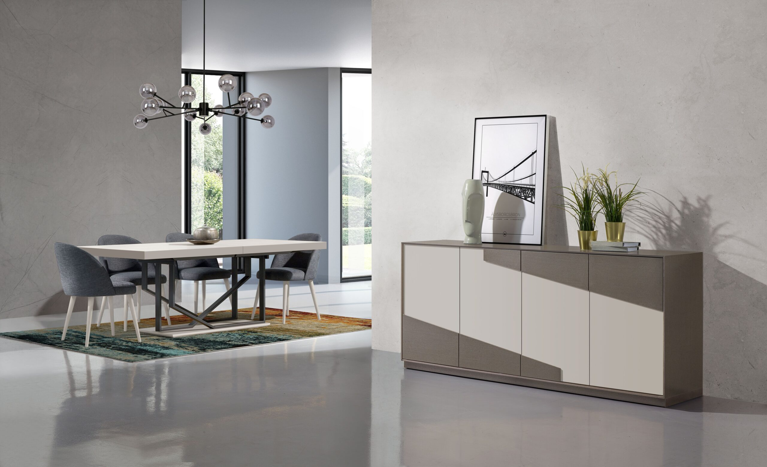 Sala de jantar moderna com aparador lacado