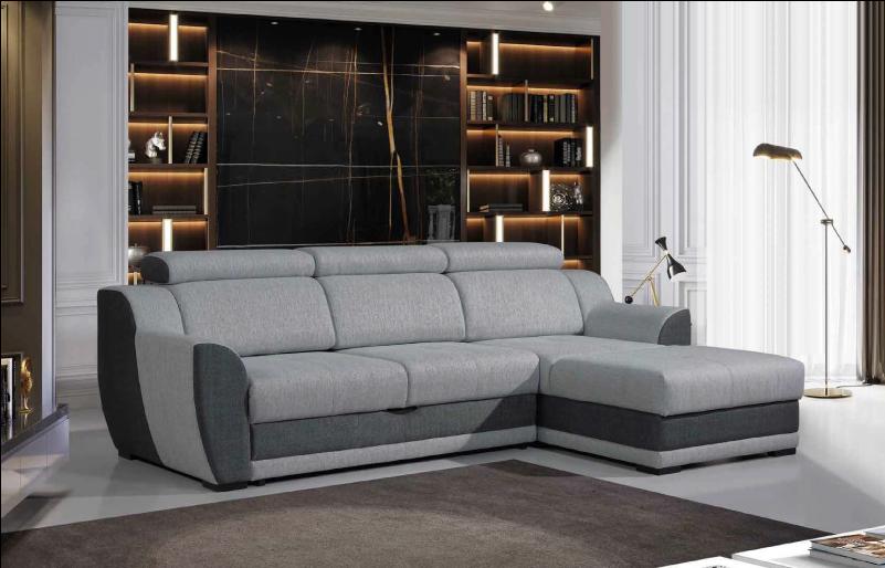 Sofá cinzento com estante decorativa