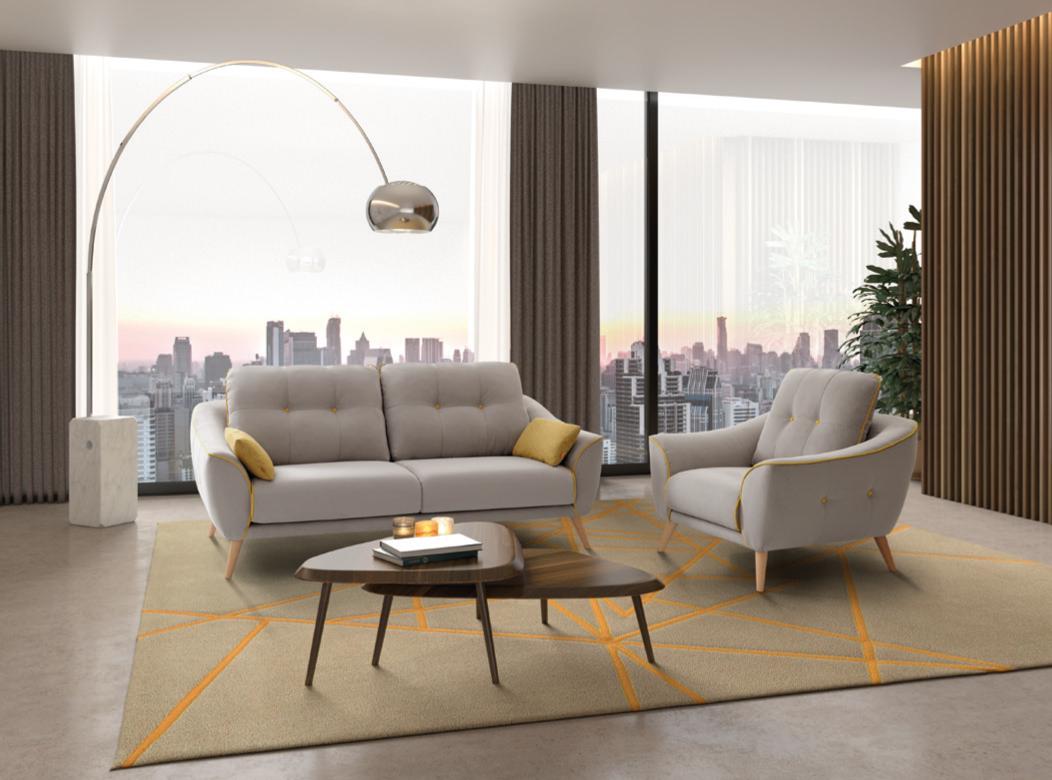 Sofá e cadeirão cinza com almofadas decorativas amarelas